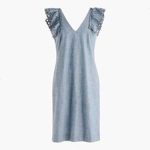 J. Crew Chambray Ruffle Shoulder Sheath Dress